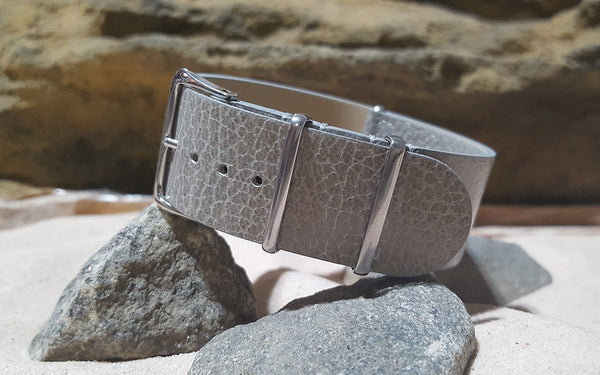 The Silver Classic Grain Leather Ballistic Nylon Strap w/ Polished Hardware (Stitched) 24mm