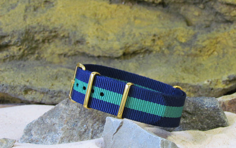 The Aurora NATO Strap w/ Gold Hardware (Stitched) 18mm