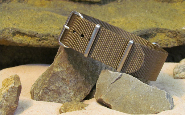 The Berenger Nato Strap w/ Brushed Hardware (Stitched) 18mm