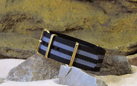 The Black-Ops II NATO Strap w/ Gold Hardware (Stitched) 24mm