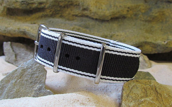 The Tuxedo Nato Strap w/ Polished Hardware 20mm