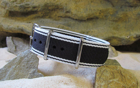 The Tuxedo Nato Strap w/ Polished Hardware 18mm