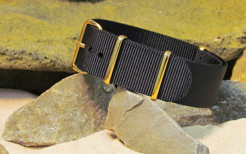The Black-Ops NATO Strap w/ Gold Hardware (Stitched) 18mm