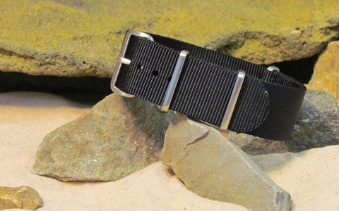 The Black-Ops NATO Strap w/ Brushed Hardware (Stitched) 18mm