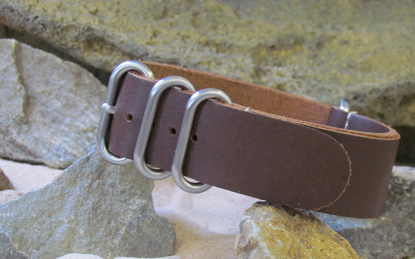 The Smooth Brown Z4™ Leather Ballistic Nylon Strap w/ Brushed Hardware 24mm