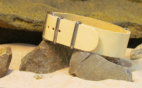 The Cavalry Leather NATO Strap w/ Polished Hardware (Stitched) 22mm