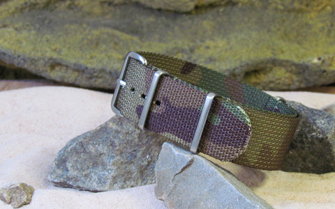 The Col. Braddock Nato Strap w/ Brushed Hardware (Stitched) 24mm