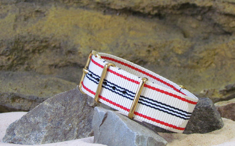 The Colonial Ballistic Nylon Strap w/ Gold Hardware (Stitched) 18mm