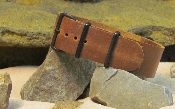 The Corporal Leather NATO Strap w/ PVD Hardware (Stitched) 18mm