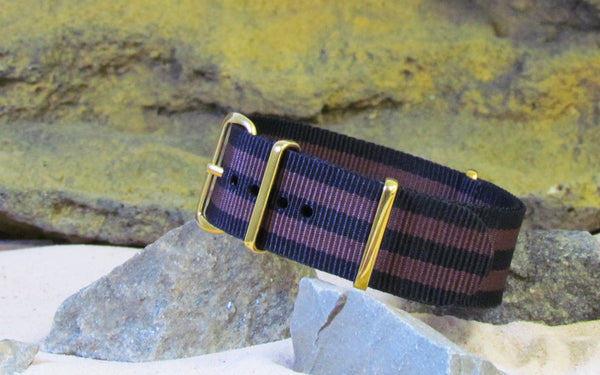 The Eclipse II NATO Strap w/ Gold Hardware (Stitched) 22mm