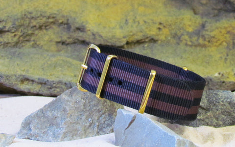 The Eclipse II Ballistic Nylon Strap w/ Gold Hardware (Stitched) 20mm