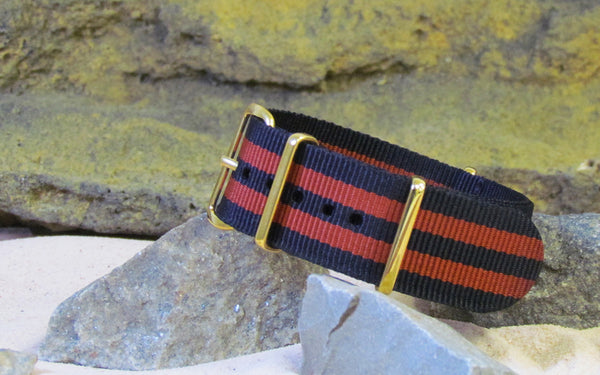 The Eclipse Nato Strap w/ Gold Hardware (Stitched) 22mm