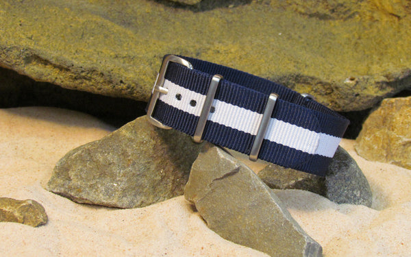 The Gentleman NATO Strap w/ Brushed Hardware (Stitched) 18mm