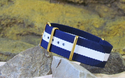 The Gentleman NATO Strap w/ Gold Hardware (Stitched) 20mm