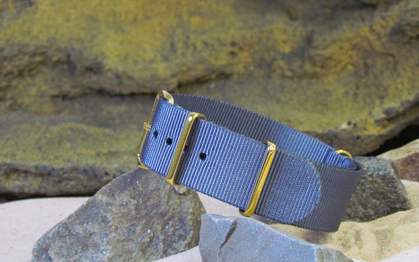 The Gray Matter Nato Strap w/ Gold Hardware (Stitched) 18mm