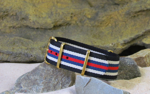 The H3rrington NATO Strap w/ Gold Hardware (Stitched) 22mm