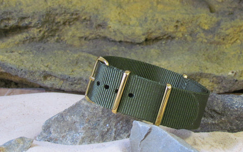 The Infantry Ballistic Nylon Strap w/ Gold Hardware (Stitched) 20mm