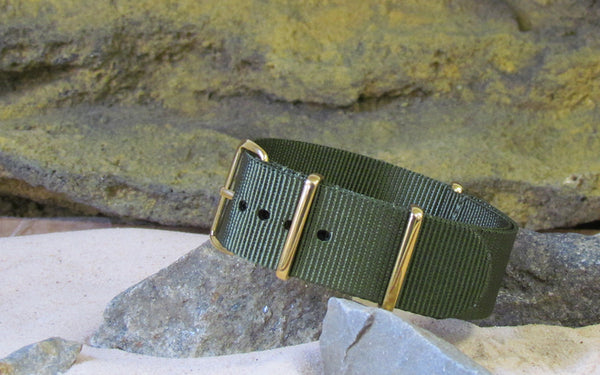 The Infantry Nato Strap w/ Gold Hardware (Stitched) 22mm