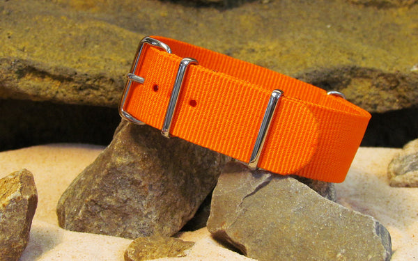 The Inmate 5150 Orange NATO Strap w/ Polished Hardware 18mm