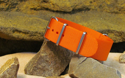 The Inmate 5150 Orange NATO Strap w/ Brushed Hardware (Stitched) 18mm