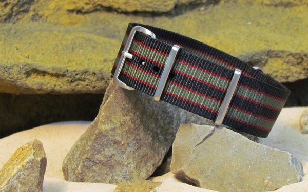 The MI6 Bond NATO Strap w/ Brushed Hardware (Stitched) 22mm