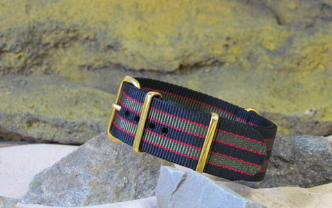 The MI6 Bond NATO Strap w/ Gold Hardware (Stitched) 24mm