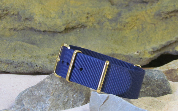 The Pacific Nato Strap w/ Gold Hardware (Stitched) 22mm