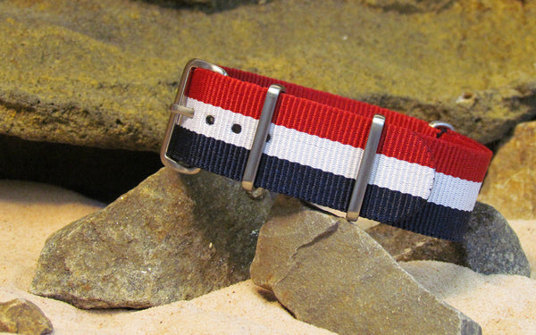 The Patriot NATO Strap w/ Brushed Hardware (Stitched) 18mm