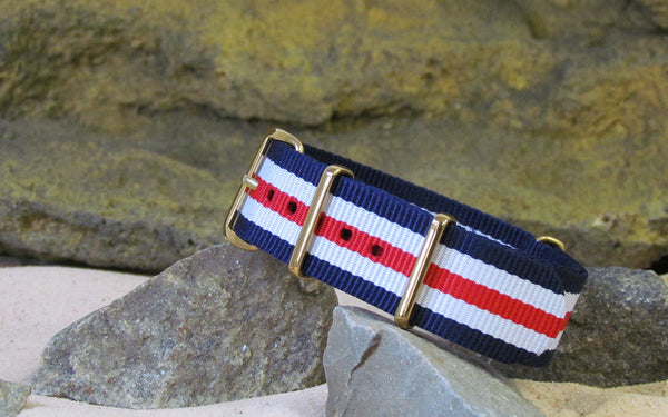 The Patriot II Ballistic Nylon Strap w/ Gold Hardware (Stitched) 18mm