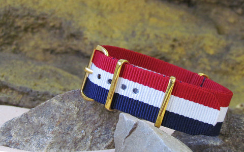 The Patriot Ballistic Nylon Strap w/ Gold Hardware (Stitched) 20mm