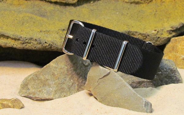 The Black-Ops Nato Strap w/ Polished Hardware (Stitched) 28mm