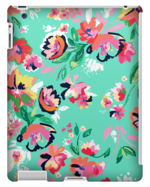 TURQUOISE FLORAL PRINT TABLET CASE