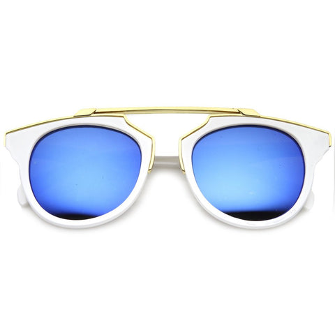 Retro Rimmed Mirrored Sunglasses - White