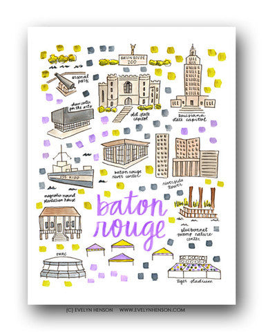 BATON ROUGE MAP ILLUSTRATION