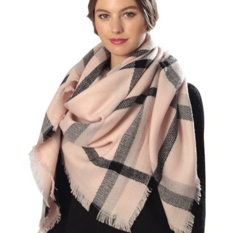 Pink and Black Blanket Scarf