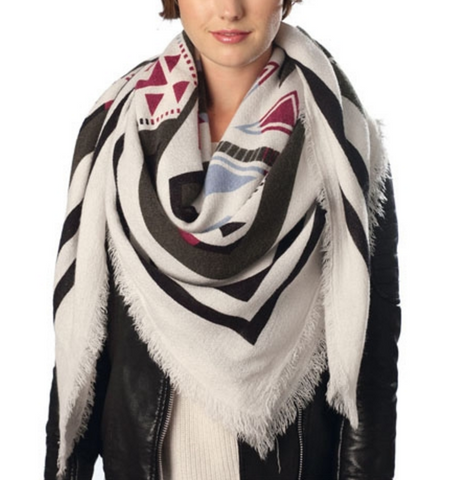 White Tribal Blanket Scarf