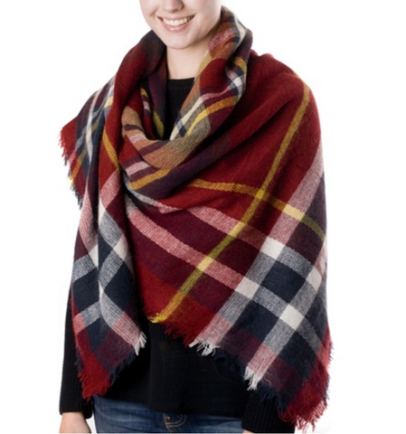 Maroon Plaid Blanket Scarf