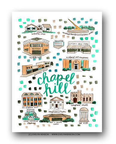 CHAPEL HILL, NC MAP ILLUSTRATION