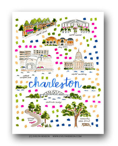 CHARLESTON, WV MAP ILLUSTRATION