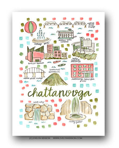 CHATTANOOGA MAP ILLUSTRATION