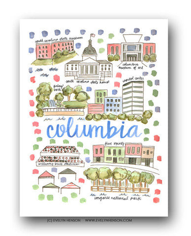 COLUMBIA, SC MAP ILLUSTRATION