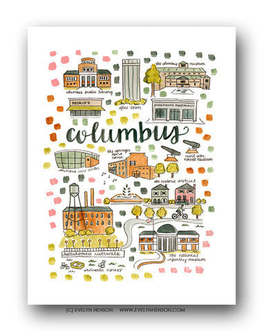 COLUMBUS, GA MAP ILLUSTRATION