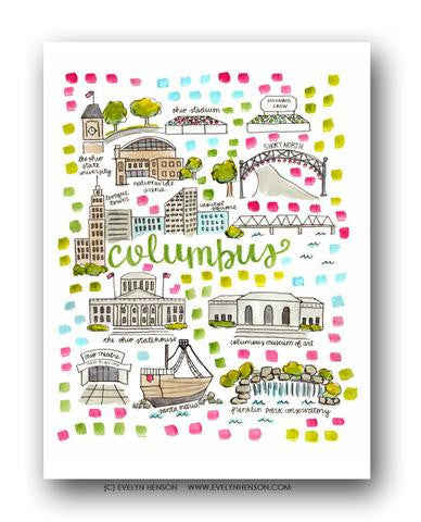 COLUMBUS, OH MAP ILLUSTRATION
