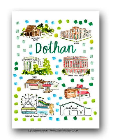 DOTHAN, AL MAP ILLUSTRATION