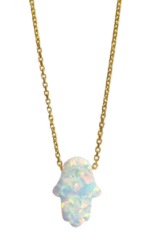STERLING GOLD WHITE OPAL HAMSA NECKLACE