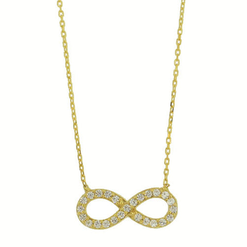 STERLING GOLD RHINESTONE INFINITY NECKLACE