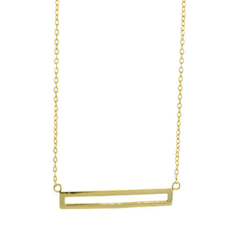 STERLING GOLD OPEN BLOCK NECKLACE