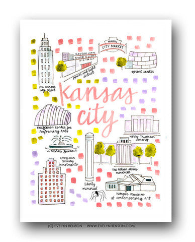KANSAS CITY MAP ILLUSTRATION