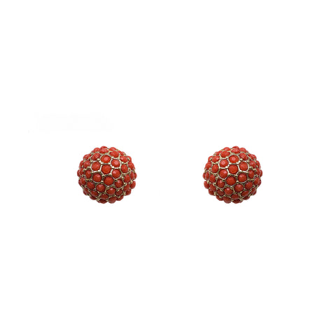 Orange Pom Stud Earrings