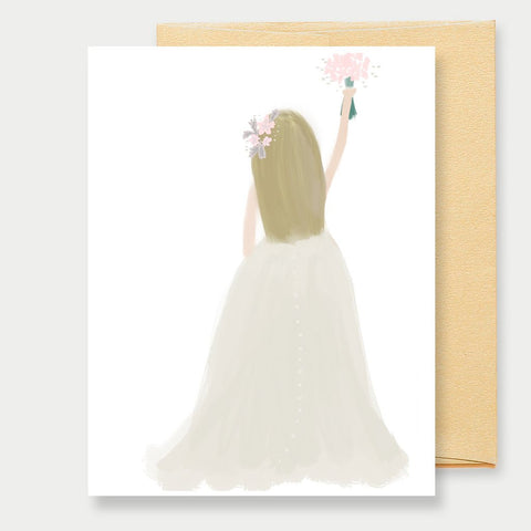 BLONDE WEDDING BRIDE - A2 GREETING CARD